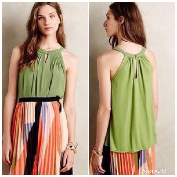 d3a7c0f325991f Anthropologie Tops - Anthro Sunday in Brooklyn Green Pintuck Halter Top